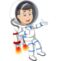 Cool astronaut in white blue suit uniform flying vector