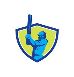 Cricket Player Batsman Batting Shield Retro vector image