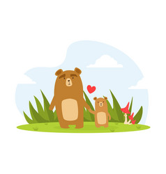 cute babear and parent happy wild florest vector image