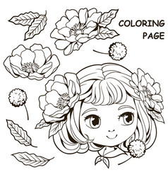 cute girl and flower coloring pages 2 vector image