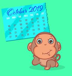 cute monkey cartoon with october 2019 calendar vector image