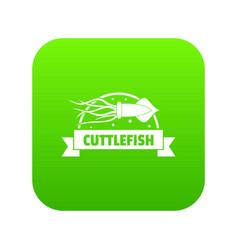 Cuttlefish shop icon green vector