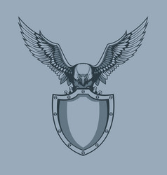 eagle with shield in claws tattoo style vector image