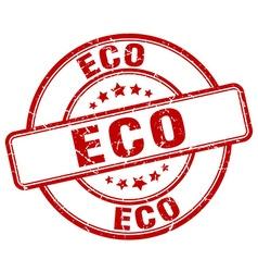 eco red grunge round vintage rubber stamp vector image
