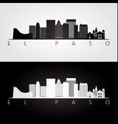 el paso usa skyline and landmarks silhouette vector image