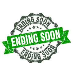 ending soon stamp sign seal vector image