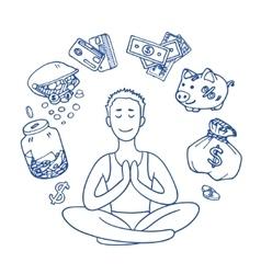 Financial yoga Businessman meditating on money vector