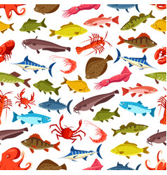 Fish seamless pattern ocean seafood background vector