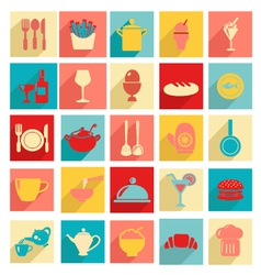 Flat design restaurant and dining icons silhouett vector