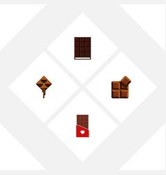 flat icon sweet set of delicious cocoa dessert vector image