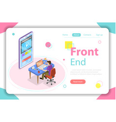 front end flat isometric concept vector image