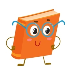Funny orange book character in round blue nerdish vector image vector image
