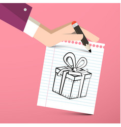 Gift box on paper notebook with pencil in hand vector