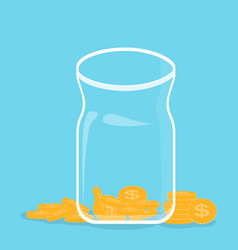 Glass bank with falling gold coins - contribution vector