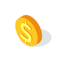 golden coin with dollar sign isolated crowdfunding vector image
