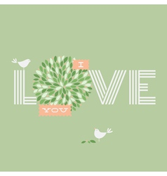 Greeting card with two love pretty birds vector image