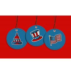 Hanging patriotic US badges vector