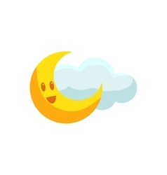 Happy Crescent And Cloud vector