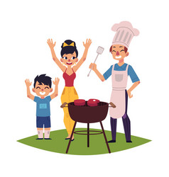 Happy family having bbq barbeque picnic outdoors vector