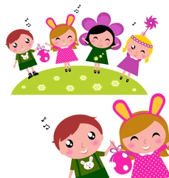 happy party kids vector image