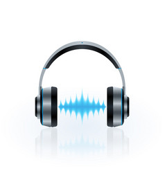 headphones and sound waves vector image