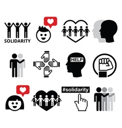 Human Solidarity icons people helping each other vector