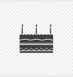 icon of the birthday cake with three candles at vector image