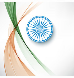 indian flag color creative wave background with vector image