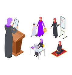 isometric arab woman design muslim vector image