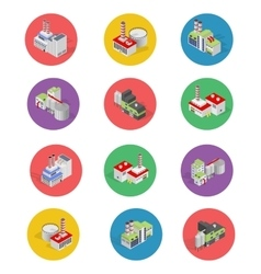 Isometric Building Factory Icons with Shadow vector image