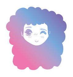 Line girl head wih hairstyle design vector