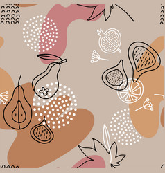 Linear fig seamless pattern in line art style vector