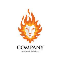 lion head fire logo vector image