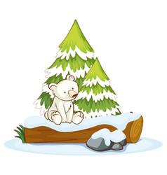 little polar bear on log vector image