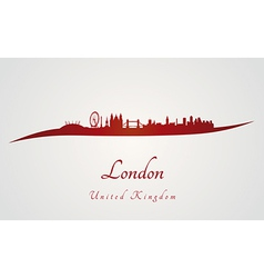 London skyline in red and gray background vector image