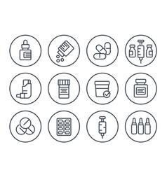 medicaments drugs pharmaceutics line icons set vector image