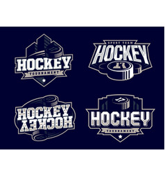 modern professional hockey logo set for sport team vector image