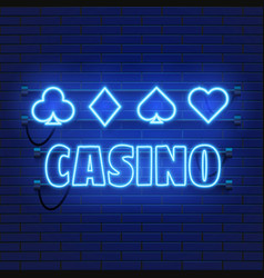neon lamp casino banner on wall background poker vector image