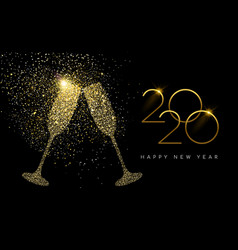 new year 2020 gold glitter champagne toast card vector image