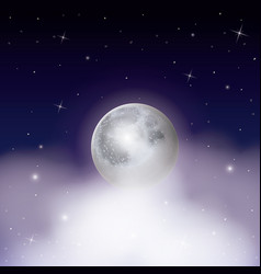 Nightly background with moon over clouds on starry vector