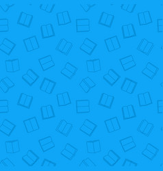 open book blue seamless pattern in thin vector image