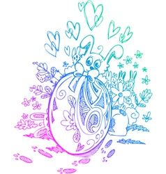 Ornate egg and Easter bunnies vector image