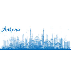 Outline ankara skyline with blue buildings vector