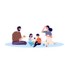 Parenthood concept happy family playing mother vector