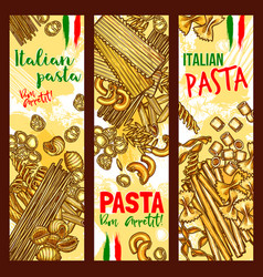 Pasta and italian macaroni banners vector