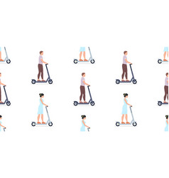 pattern with man and woman riding electric scooter vector image