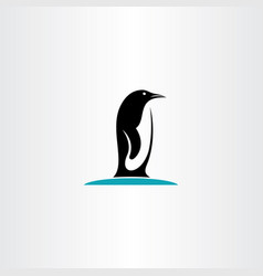 penguin on ice logo icon vector image