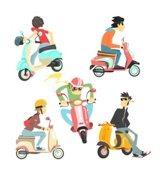 People On Scooters Set vector