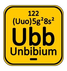 Periodic table element unbinilium icon vector image