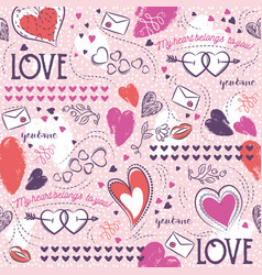 pink seamless patterned background with hearts vector image